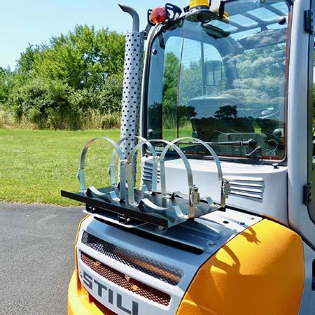 Nigrowsky : Support bouteille double SB202 basculant pour bouteilles de gaz 13kg.Convient aux véhicules à carburation GPL, chariot élévateur. Fabrication Made in France