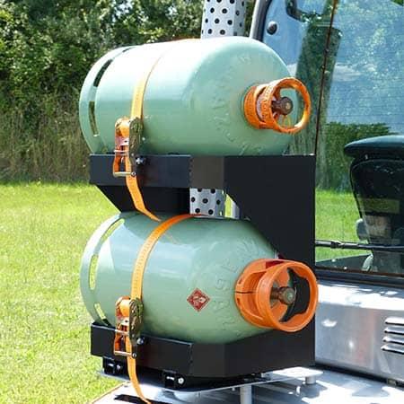 Nigrowsky : Support bouteille double SB302 basculant pour bouteilles de gaz 13kg.Convient aux véhicules à carburation GPL, chariot élévateur. Fabrication Made in France