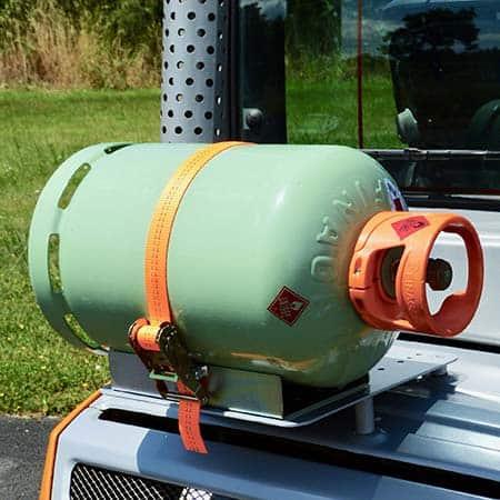 Nigrowsky : Support bouteille simple SB101 pour bouteille de gaz 13kg.Convient aux véhicules à carburation GPL, chariot élévateur. Fabrication Made in France